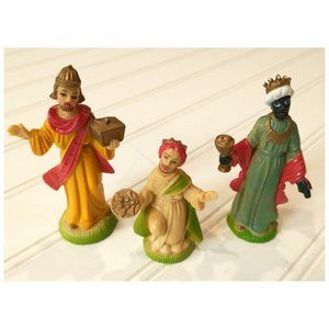 Vtg 1950's Plastic Three Wise Men Nativity Figures